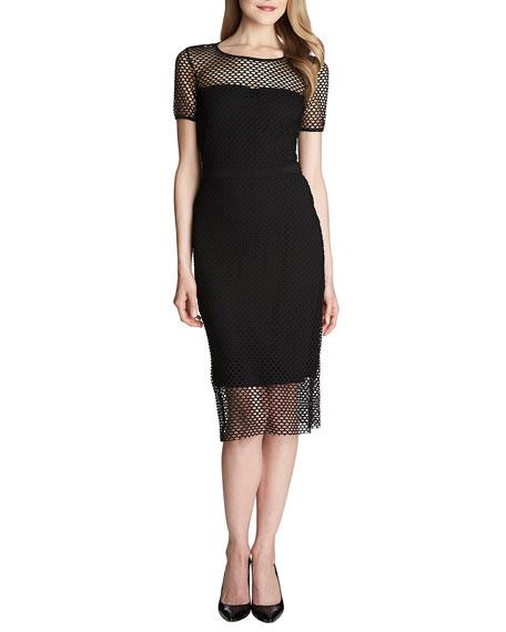 Lily Short-Sleeve Mesh Midi Dress