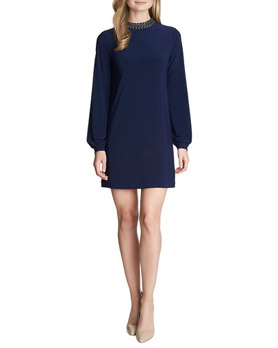 Trinity Long-Sleeve Embellished-Neck Shift Dress