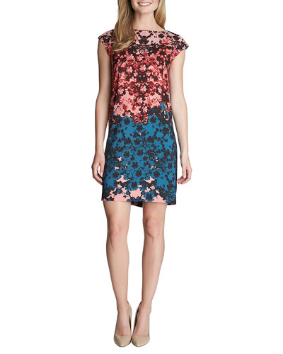 Olivia Cap-Sleeve Floral-Print Dress