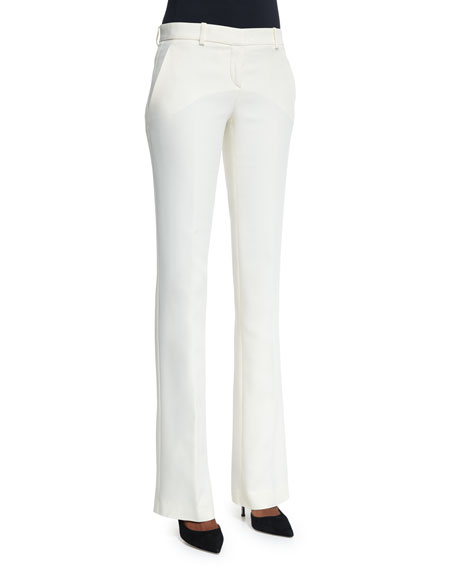 Versace Mid-Rise Boot-Cut Trousers, White