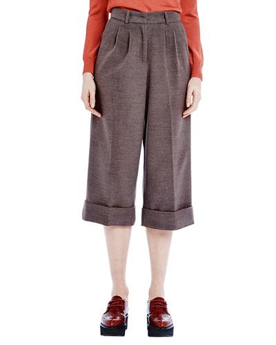 Cuffed Midi Flannel Trousers