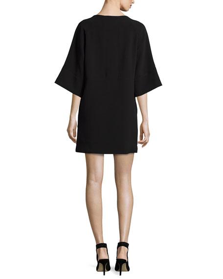Embellished Half-Sleeve Shift Dress