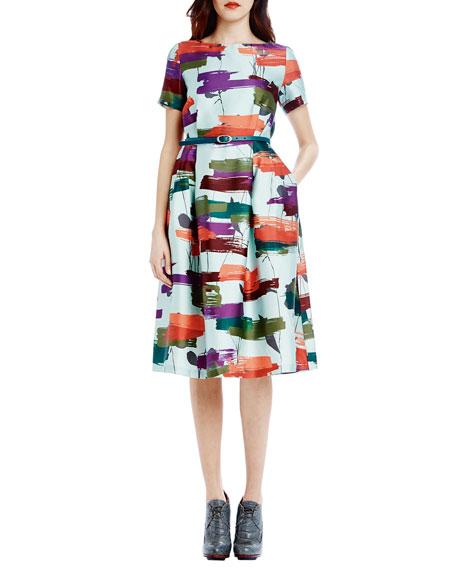 Short-Sleeve Printed Belted Tea-Length Dress