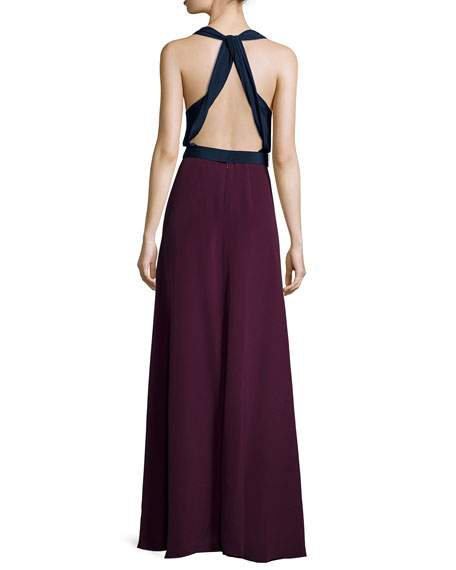 Sleeveless Crepe Two-Tone Gown, Blue/Magenta