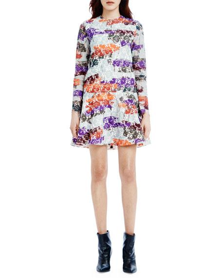 Avalon Long-Sleeve Dropped-Waist Mini Dress