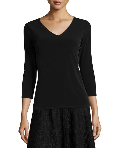Carmen by Carmen Marc Valvo Double V-Neck Jersey