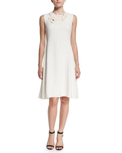 Floral Embellished A-Line Dress, Antique White