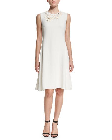 3.1 Phillip Lim Floral Embellished A-Line Dress, Antique White