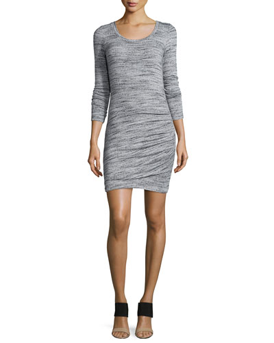 Long-Sleeve Round-Neck Dress, Heather Gray
