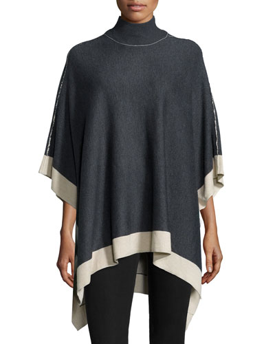 Saddle Pullover Sweater W/Contrast Trim, Heather Charcoal/Camel