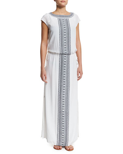 Embroidered Long Caftan Coverup Dress