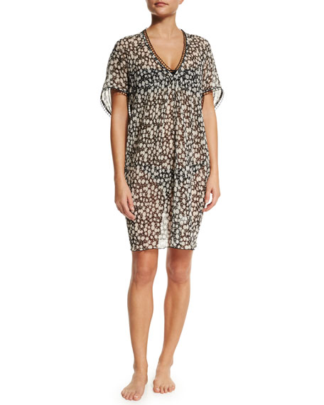 Tory Burch Floral-Print Short-Sleeve Tunic Coverup