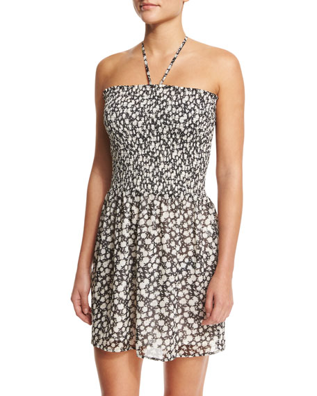 Tory Burch Orchard Floral-Print Smocked Coverup Dress