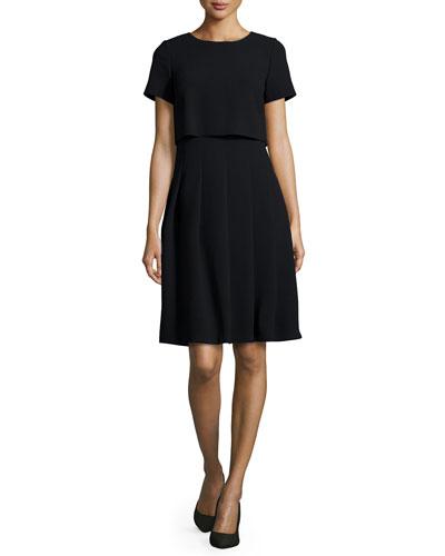 Ella Short-Sleeve Illusion Dress, Women's