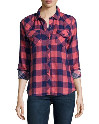 Kendra Check-Print Shirt, Coral/Navy