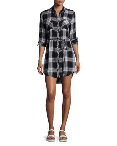 Nadine Belted Plaid Shirtdress, Black Ash