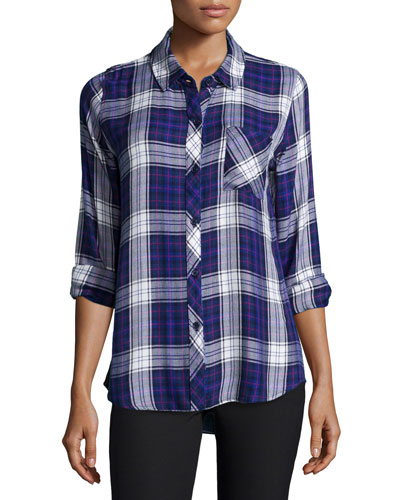 Hunter Plaid Long-Sleeve Shirt, Ultra Violet