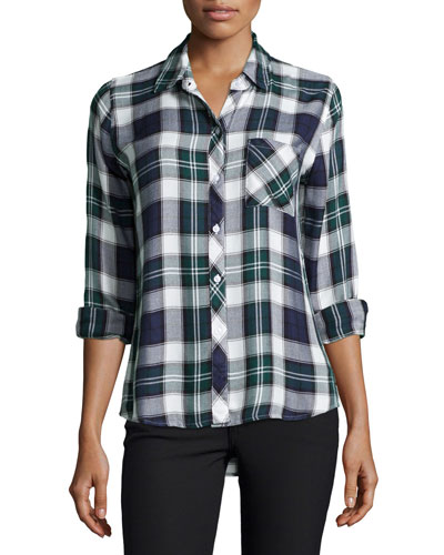 Hunter Plaid Long-Sleeve Shirt, Midnight/Forest