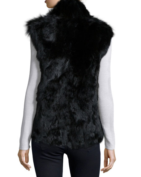 Stand-Collar Fur Vest, Black