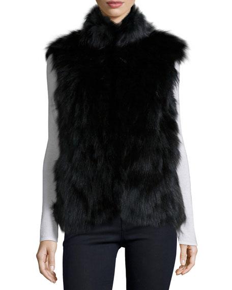 Stand-Collar Fur Vest, Black
