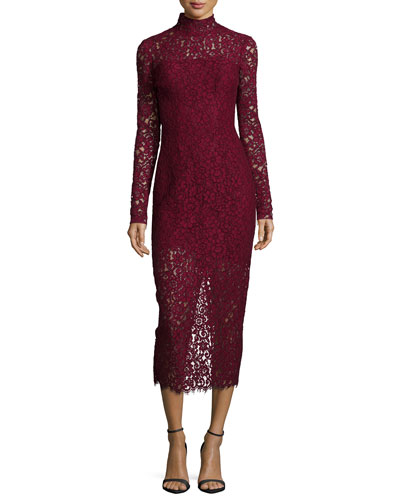 Long-Sleeve Lace Midi Cocktail Dress