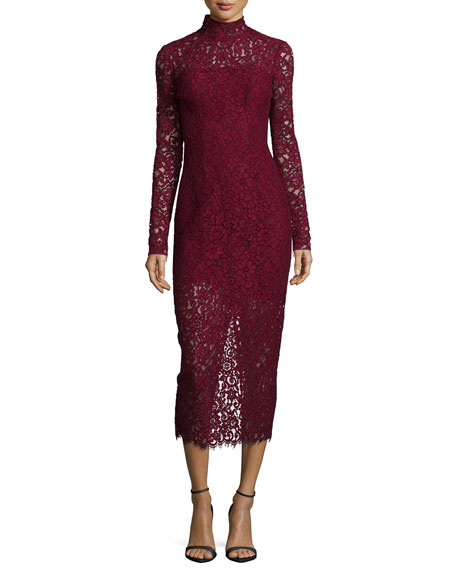 ML Monique LhuillierLong-Sleeve Lace Midi Cocktail Dress