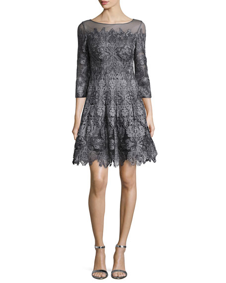 Kay Unger New York3/4-Sleeve Lace A-line Cocktail Dress
