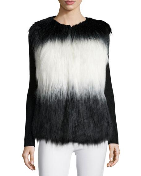 Faux-Fur Colorblock Vest, Onyx Combo