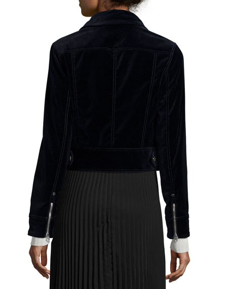 Rag & Bone Ziggy Velvet Zip-Front Jacket, Carbon