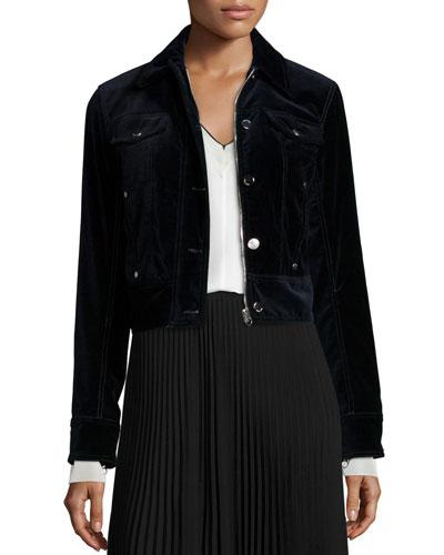 Ziggy Velvet Zip-Front Jacket, Carbon