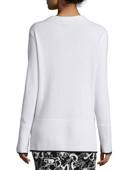 Flavia Cashmere V-Neck Sweater, Ivory