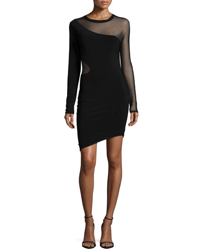Ziomara Long-Sleeve Fitted Dress, Black