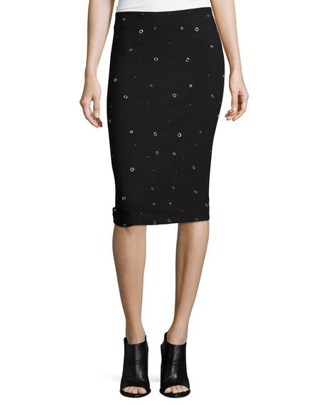 Elizabeth and James Lima Grommet-Embellished Pencil Skirt, Black