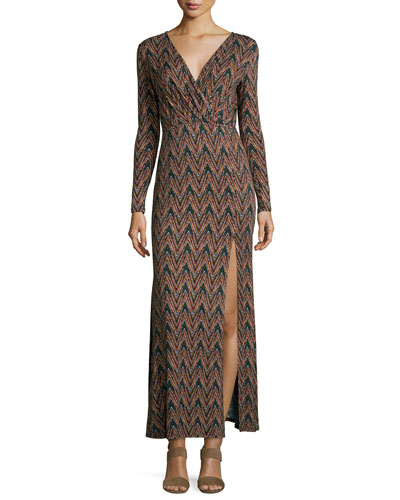 Long-Sleeve Maxi Dress, Moss