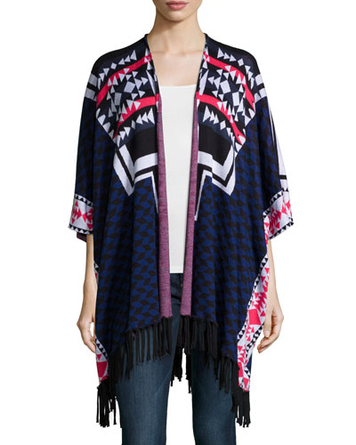Tribal-Print Open-Front Jacket, Midnight