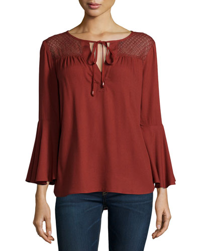Boho Embellished-Yoke Top, Henna