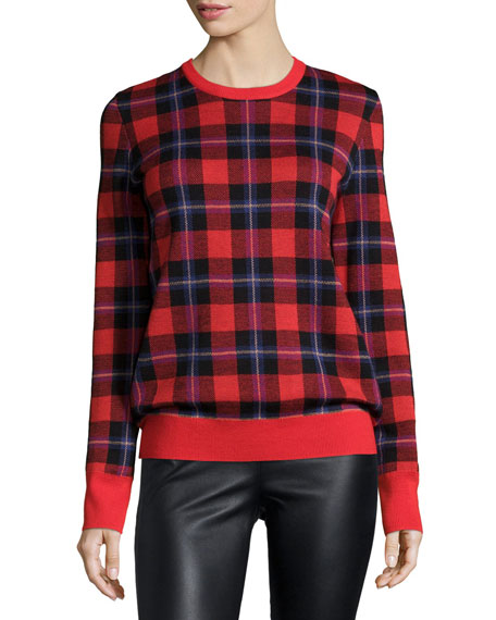 Equipment Shane Long-Sleeve Plaid Sweater, Cherry Red/Multi