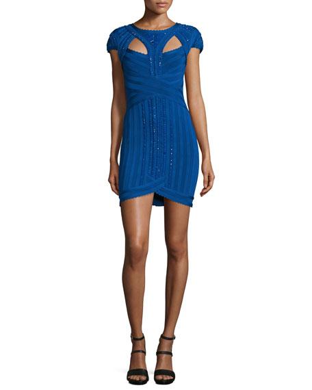 Herve Leger Embellished Bandage Dress W/Cutouts, Blue Sapphire