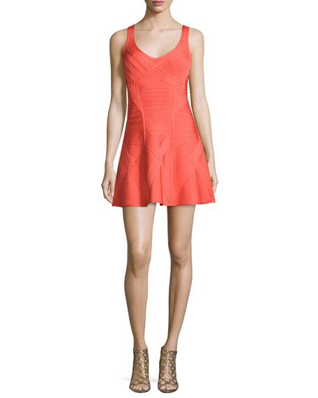 Herve LegerSleeveless Bandage Fit-and-Flare Dress, Bright Carotene