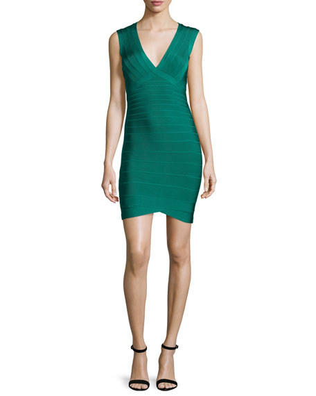 Herve Leger Diane Lane Cutout-Back Bandage Dress, Alpine Green