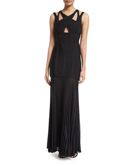 Herve Leger Sleeveless Strappy Pleated Bandage Gown, Black