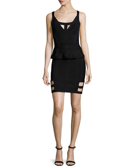 Herve Leger Sleeveless Bandage Dress W/Peplum, Black