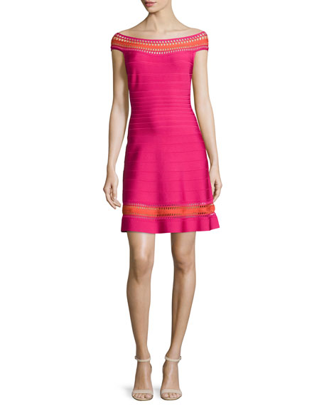 Herve Leger Off-The-Shoulder Crochet-Inset Dress, Bright Pink