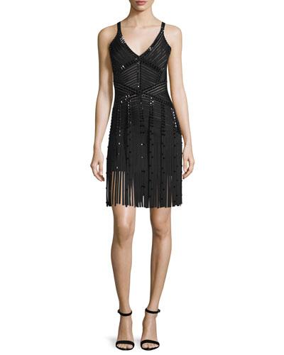 Fringe-Hem Embellished Knit Bandage Dress, Black