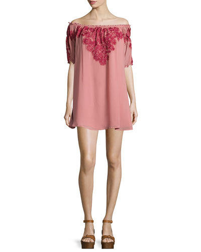 Sicily Off-The-Shoulder Mini Dress/Tunic, Sangria