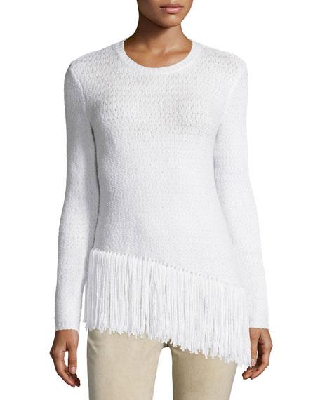 Theory Hudina R Damper Fringe-Hem Sweater