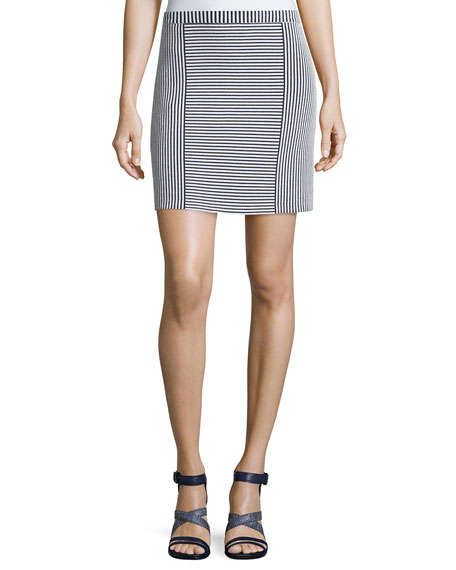 Theory Teslia Geometric-Striped Knit Skirt