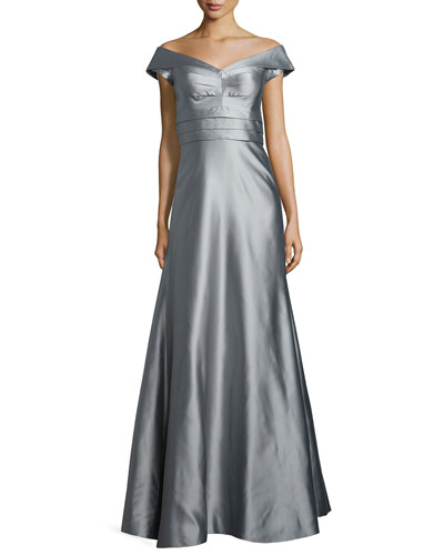 Cap-Sleeve Shirred-Bodice Full Gown