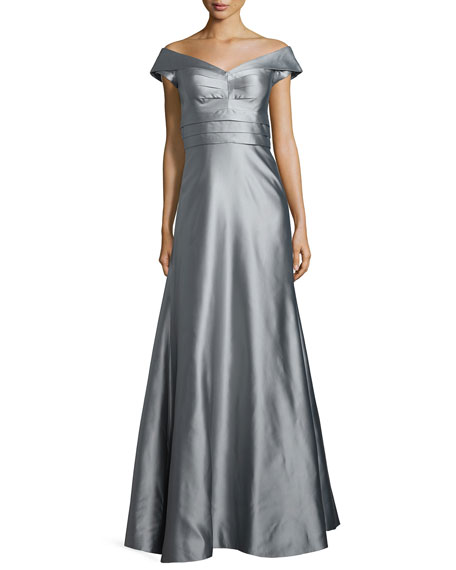 Kay Unger New York Cap-Sleeve Shirred-Bodice Full Gown