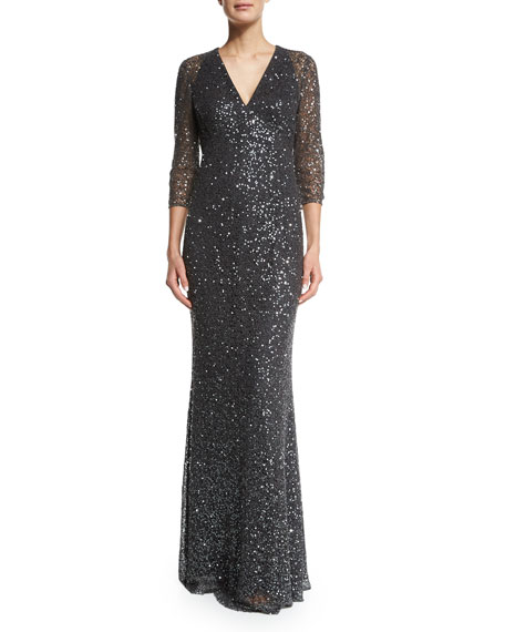 Kay Unger New York 3/4-Sleeve Sequined Lace Gown